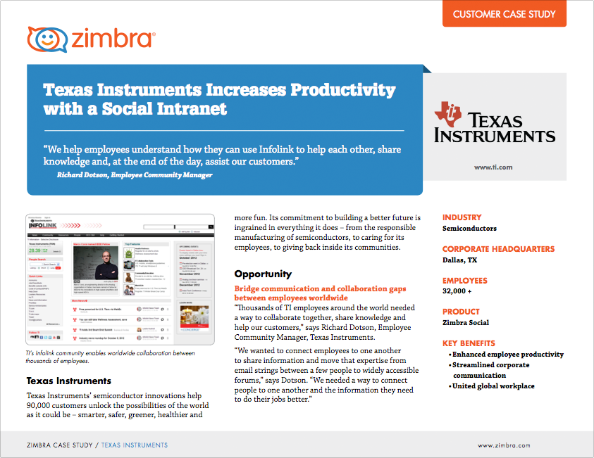 Texas Instruments Increases Productivity with a Social Intranet